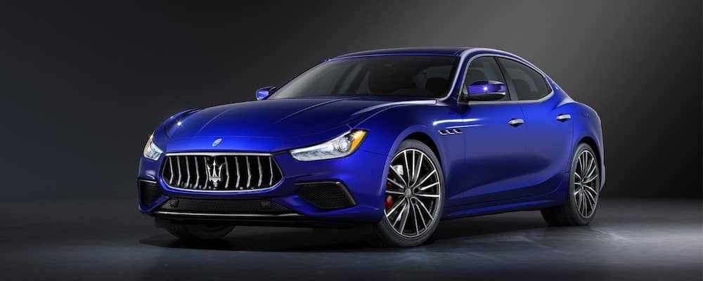 Exterior picture of a blue 2020 Maserati Ghibli