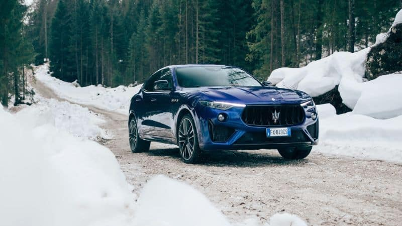 A 2020 Maserati Levante driving in snow