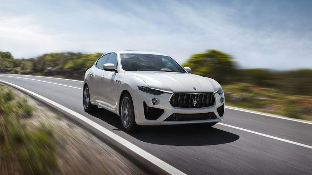 A 2020 Maserati Levante driving on a highway