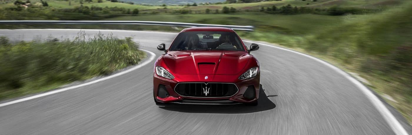 A 2020 Maserati driving on a track