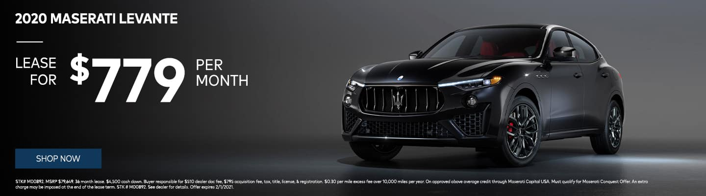 Lease the 2020 Maserati Levante for $779/month