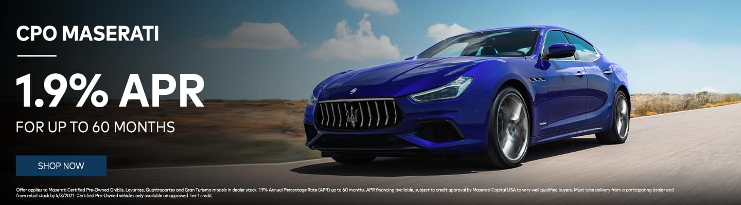 CPO Maserati 1.9% APR for up to 60 Months!