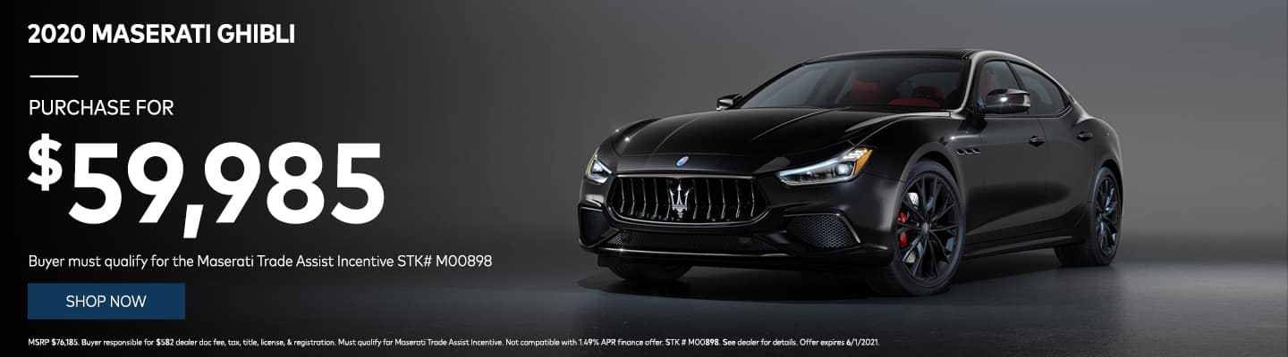 2020 Maserati Ghibli Purchase for $59,985! Buyer must qualify for the Maserati Trade Assist Incentive STK# M00898