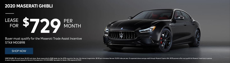 2020 Maserati Ghibli $729/month! Buyer must qualify for the Maserati Trade Assist Incentive STK# M00898