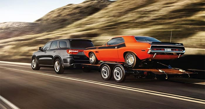 Dodge Durango Towing a Car Trailer