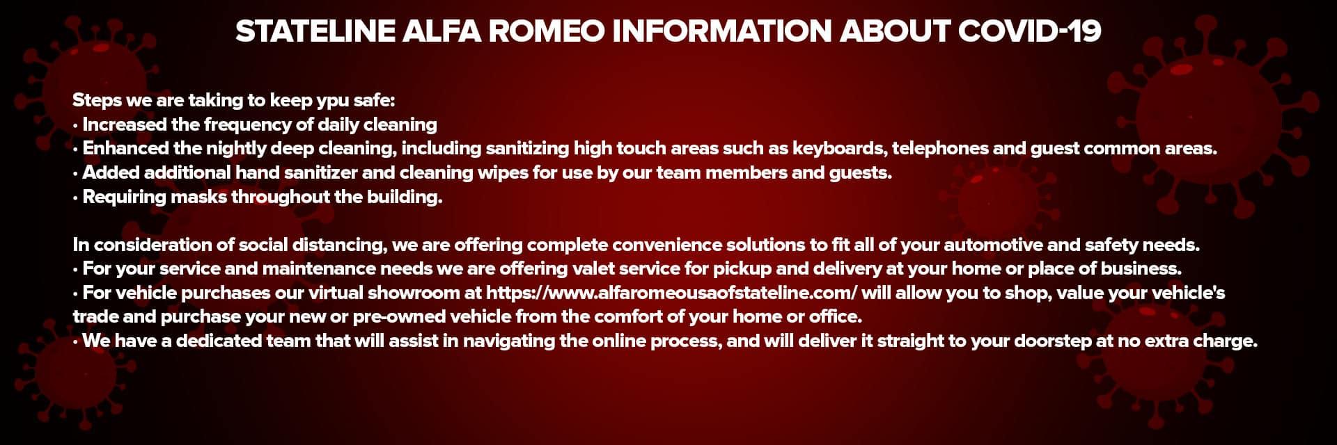 Covid Info Sliders-Stateline Alfa Romeo