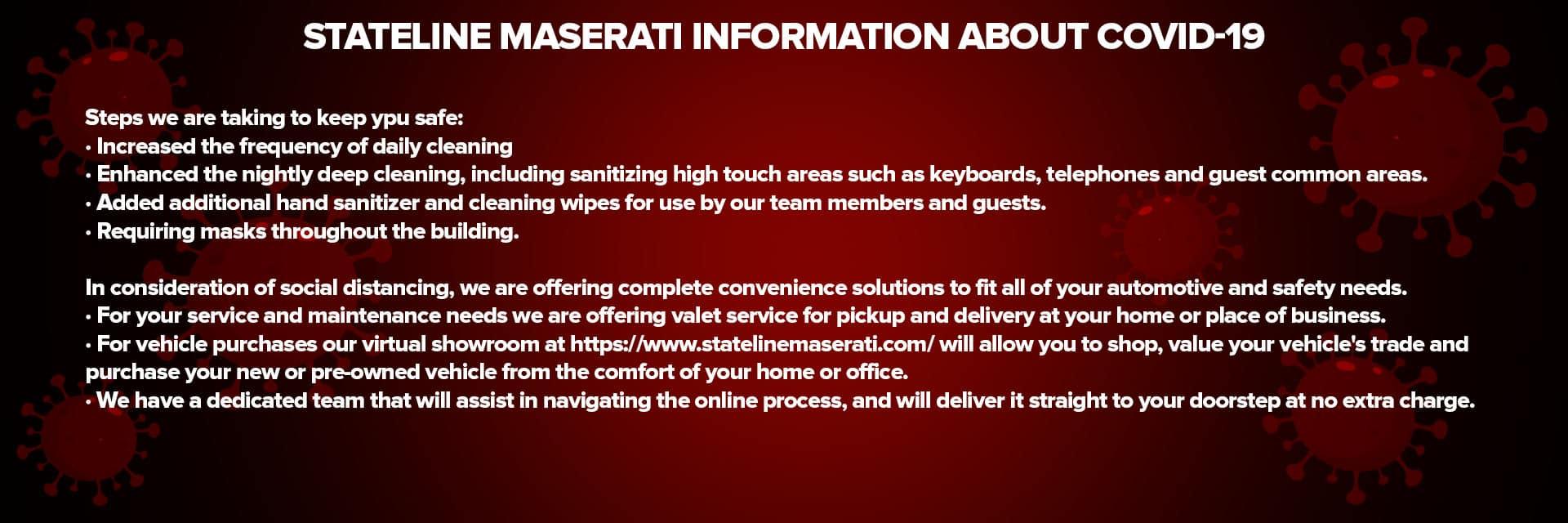 Covid Info Sliders-Stateline Maserati
