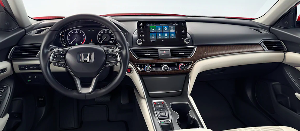 Interior cockpit view of a 2020 Honda Accord interior