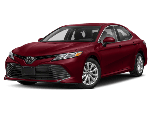 side view of a red 2020 Toyota Camry