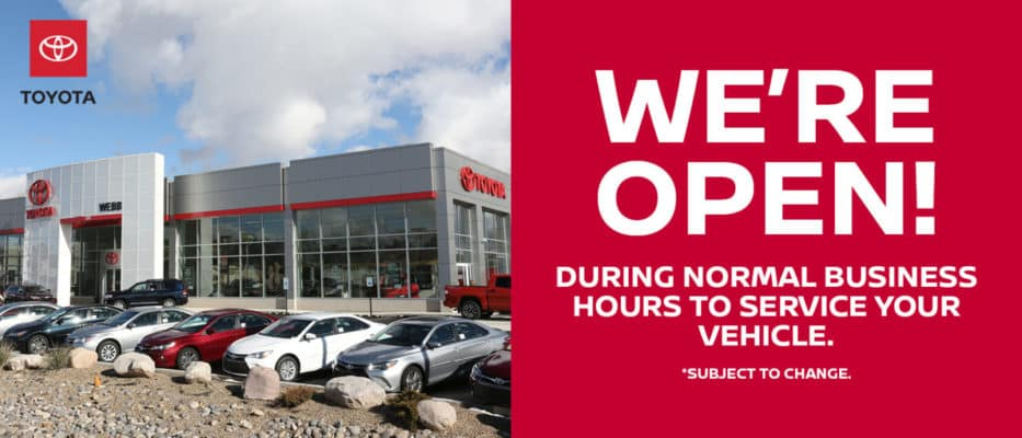 Webb Toyota is Open for Auto Service
